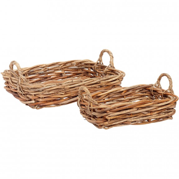Hubsch  Shallow Natural Woven Baskets Set Of 2