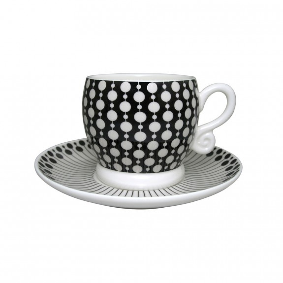 Neisha Crosland Boule Espresso Cup and Saucer - Donkey and Black