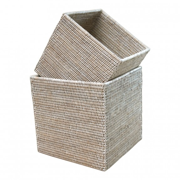 Brucs Square White Rattan Baskets - Set Of 2