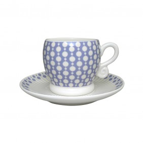 Neisha Crosland Boule Espresso Cup and Saucer - Bluebell and Cream
