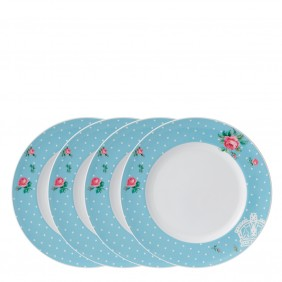 Royal Albert Polka Blue Modern Plate 27cm Set of 4 Boxed